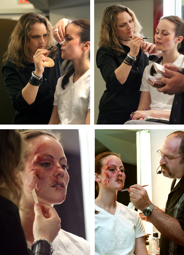Howard Berger and Tami Lane applying casualty makeup