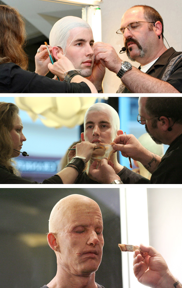 Howard Berger and Tami Lane applying 3D Silicon Aging Makeup