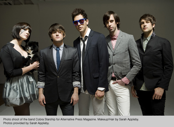 Makeup and Hair for Cobra Starship photoshoot for Alternative Press Magazine, by Sarah Appleby