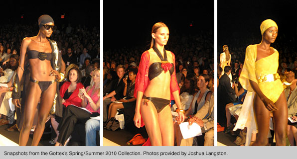 Fashion school students interning at New York Fashion Week, at the Gottex Spring/Summer 2010 Collection fashion show