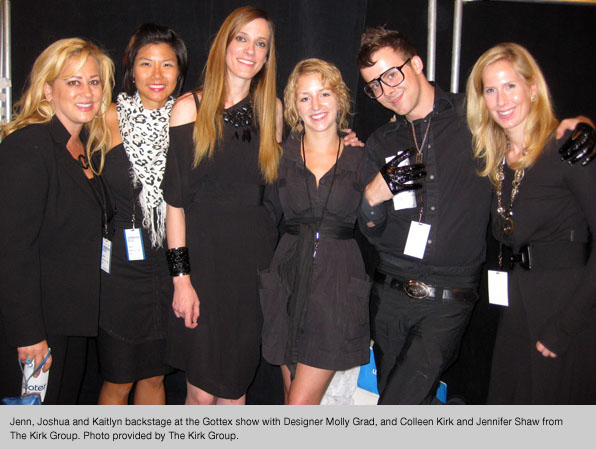 Blanche Macdonald fashion school students backstage at New York Fashion Week at the Gottex show, with designer Molly Grad