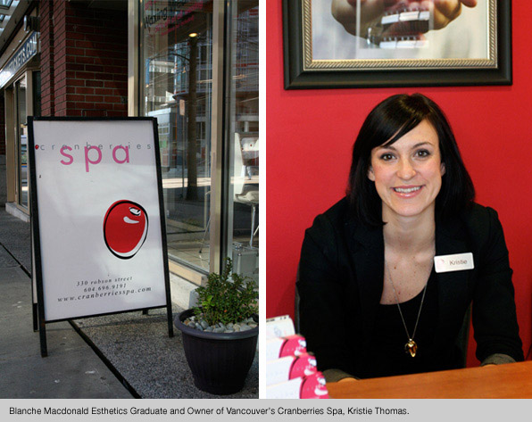 Top Esthetics school graduate Kristie Thomas, owner of Cranberries Spa
