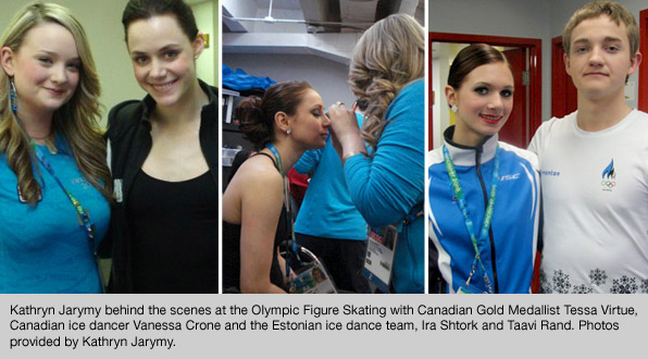 top canada's makeup program graduate Kathryn Jarymy workign as head of hair and makeup for all the figure skating events