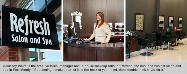 Top Makeup School Graduate Courtney Vieira, Owner of Refresh Salon and Spa Port Moody, BC