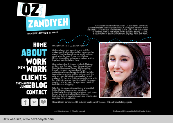 Oz Zandiyeh Makeup Website