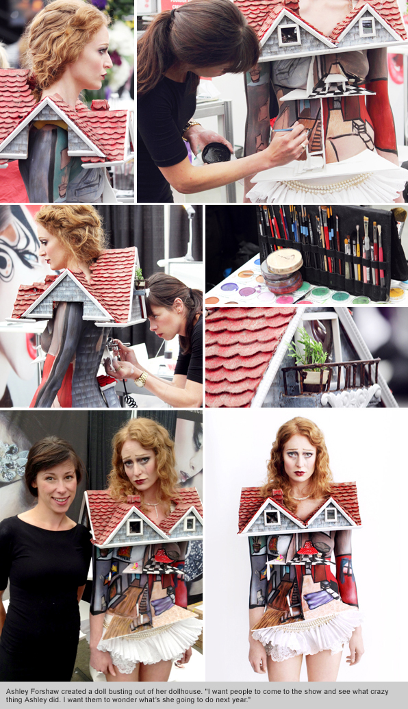 top makeup school graduate/instructor body painting artist ashley forshaw IMATS Vancouver 2012 Blanche Macdonald Demo