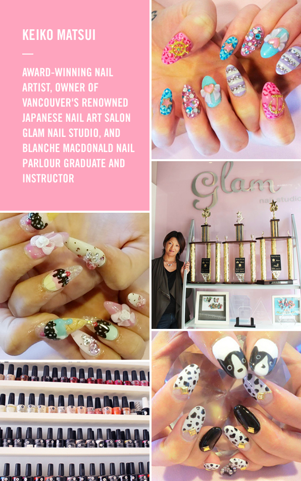 Award winning nail art and owner of glam nail studio keiko matsui keiko matsui brings the bling to vancouvers nail art scene prinsesfo Image collections
