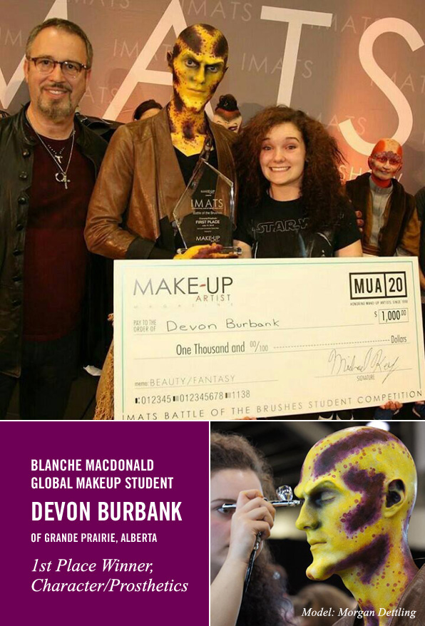 Blanche Macdonald Makeup student Devon Burbank wins First Place at IMATS Vancouver 2016, Character/Prosthetics Student Competition!
