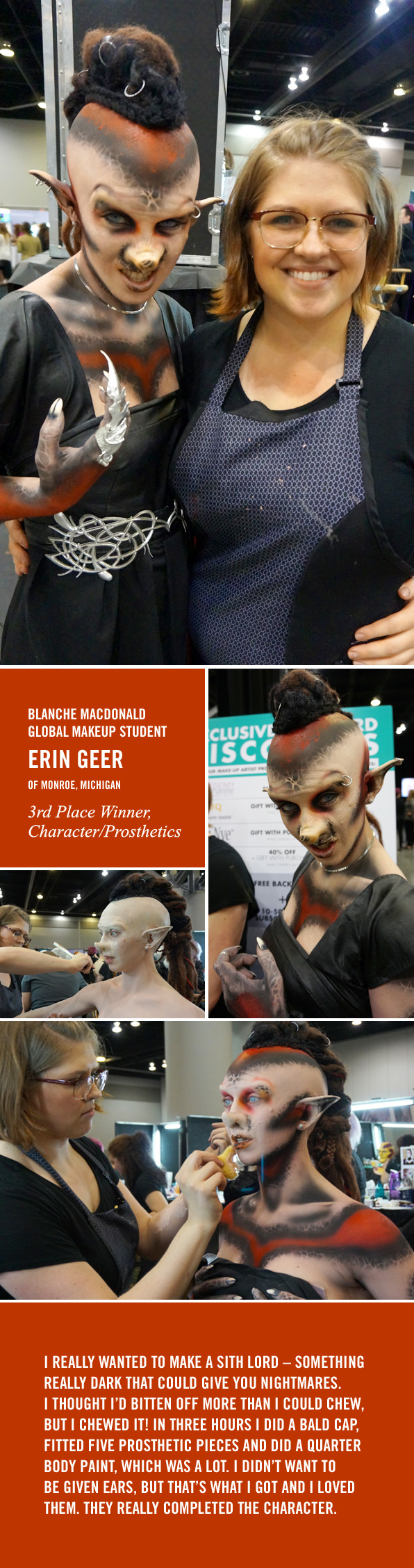 Blanche Macdonald Global Makeup Student Erin Geer from Monroe, Michigan wins 3rd Place at IMATS Vancouver 2016!