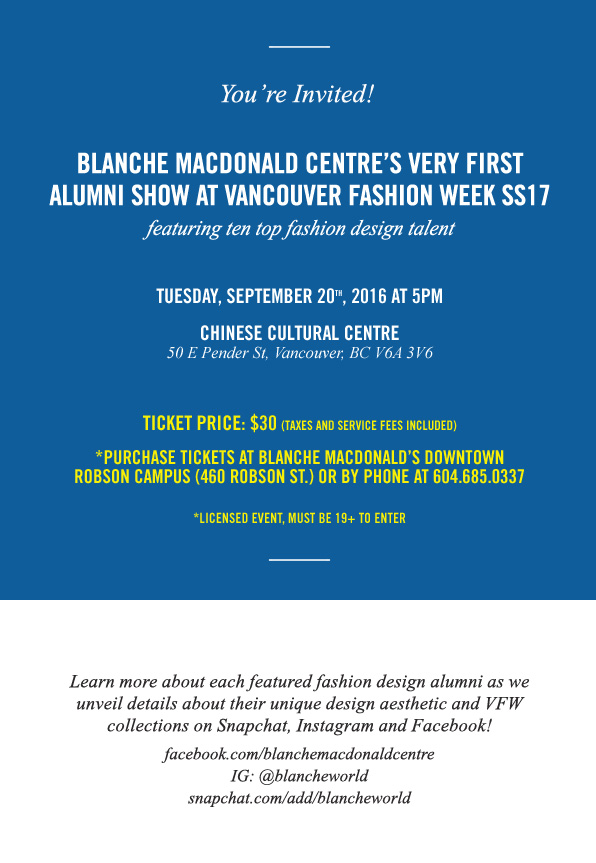 You're Invited to Blanche Macdonald's inaugural Alumni Show at VFW!