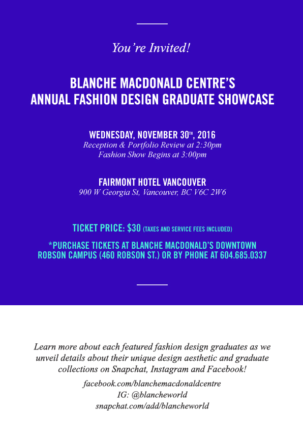 Blanche Macdonald Annual Graduate Fashion Design Showcase
