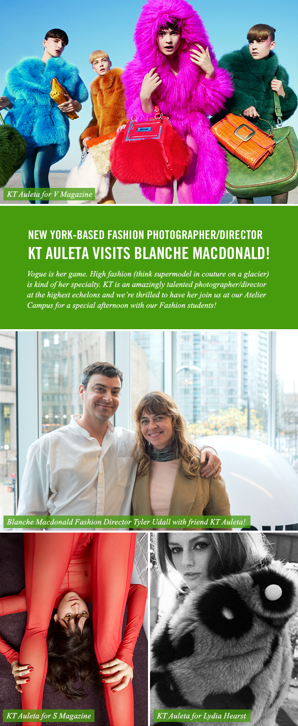 Special Guest: NY-based Fashion Photographer KT Auleta visits Blanche Macdonald!