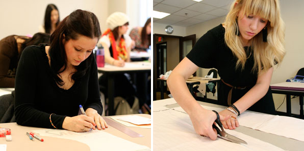 Fashion Design Students Drawing and Cutting
