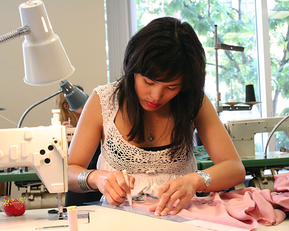 Fashion Design students working on projects