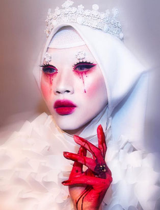 makeup artist turned instructor timothy hung bleeding religious figure creative