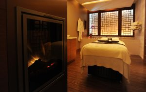 shangri-la hotel spa chi treatment room fireplace