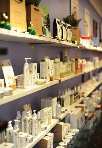 eminence spa boutique product wall