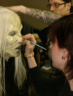 blanche macdonald fx makeup instructor holland miller applying alien