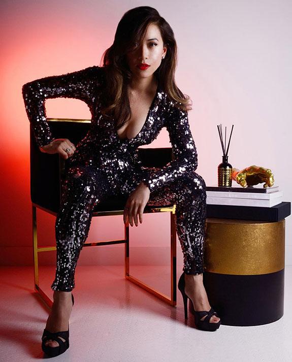 top fashion design graduate wen chee liu sequin jumpsuit