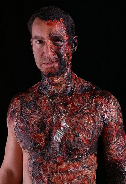 burn makeup on actor justin sain by leanne podavin