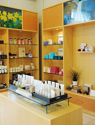 absolute spa shelves of beauty products