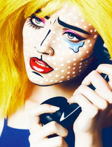 pop art comic makeup by blair petty