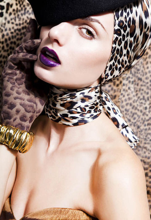 leopard print and purple lips by blair petty