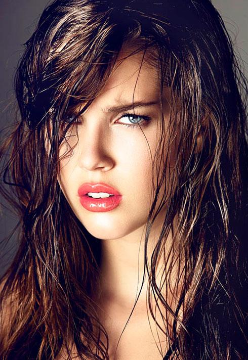 editorial makeup pouting model