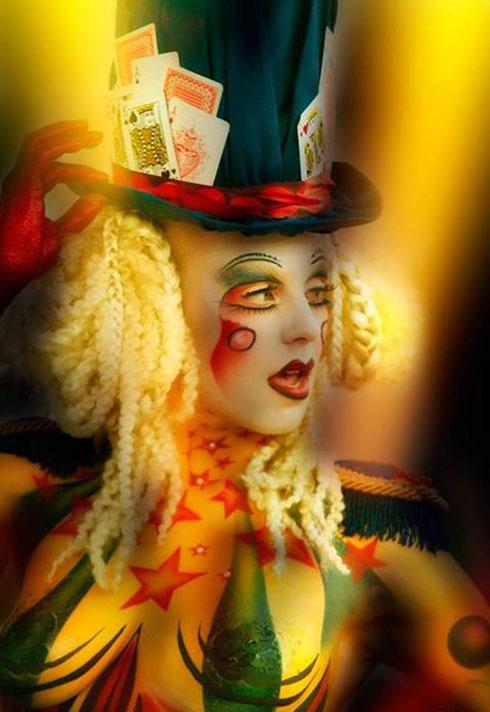 natacha trottier art world circus jester bodypainting