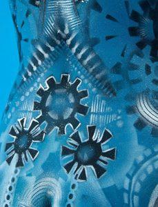 blue cyborg bodypainting detail by natacha trottier