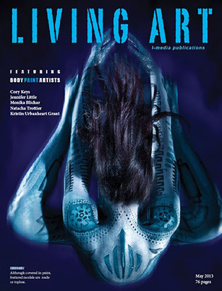natacha trottier bodypainting on the cover of living art magazine