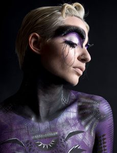 natacha trottier top makeup artist purple bodypainting