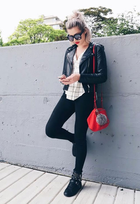 karissa pukas ootd red lips and leather
