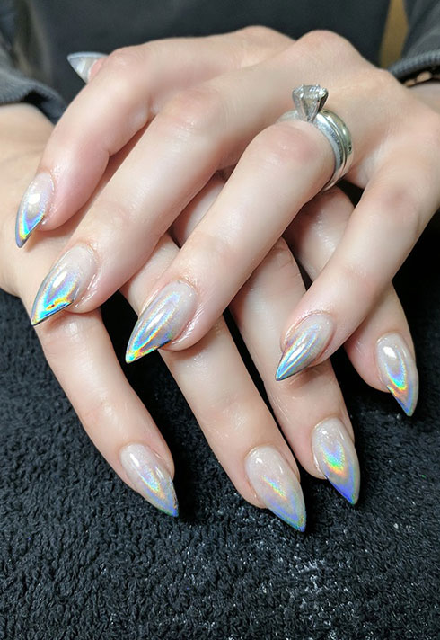 top beauty school graduate paige roy holographic nails