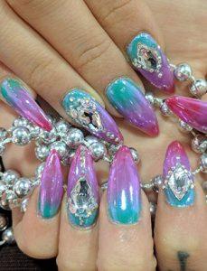keiko matsui glam nail studio blue pink gradient nails