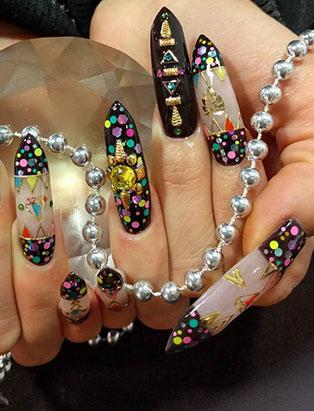 keiko matsui glam nail studio long deco patterned nails