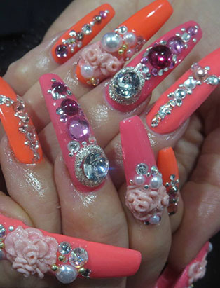 keiko matsui glam nail studio long pink orange decorated nails