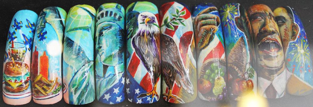 keiko matsui glam nail studio hand-painted usa obama nail art