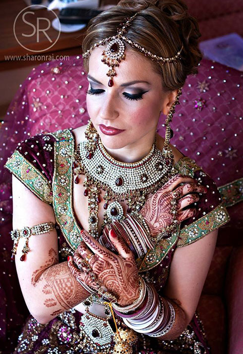 sharon rai bridal makeup purple henna bangles