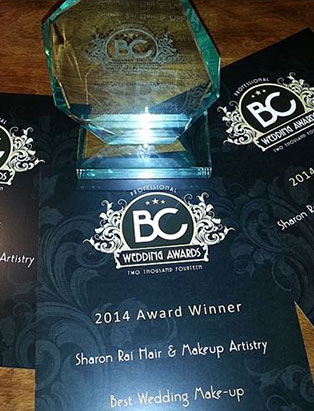 sharon rai bridal makeup bc award