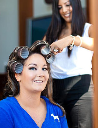 sharon rai bridal makeup set rollers client