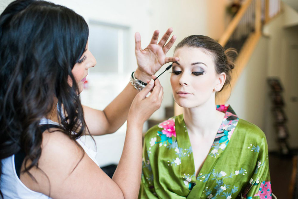 sharon rai bridal makeup application silk kimono