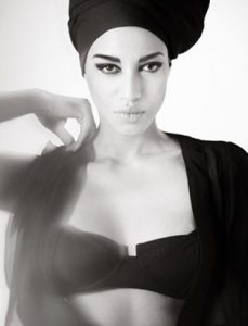 shaina azad top makeup artist model headwrap black and white