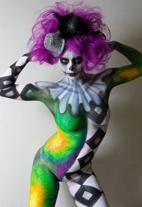 jennifer little bodypainting crazy clown