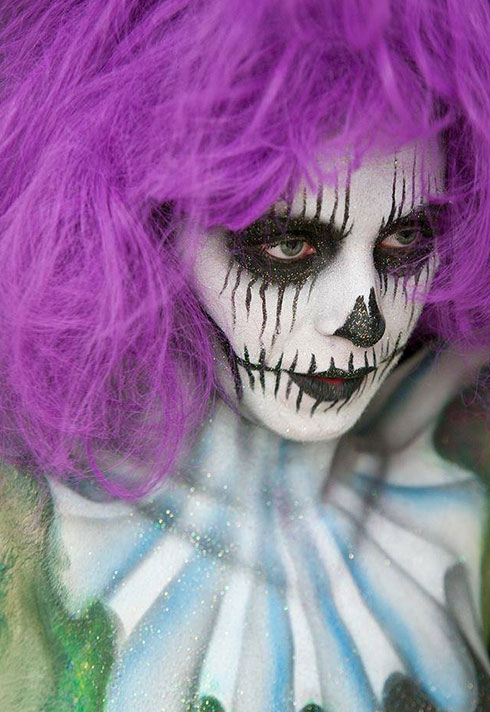 jennifer little bodypainting crazy clown makeup