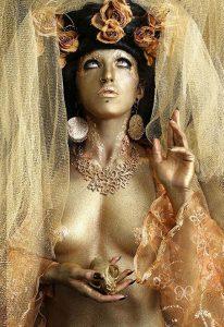 jennifer little bodypaint golden religious deity airbrushing