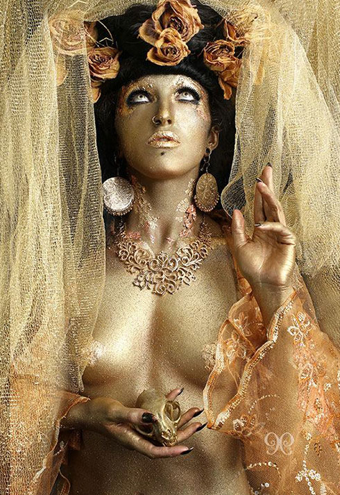 jennifer little bodypaint golden religious deity airbrushing