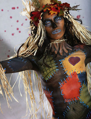 jennifer little airbrush scarecrow bodypaint