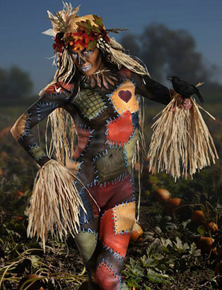 jennifer little airbrush scarecrow bodypainting makeup