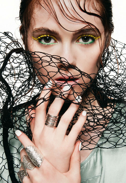 jessica clark fashion styling fishnet white nails